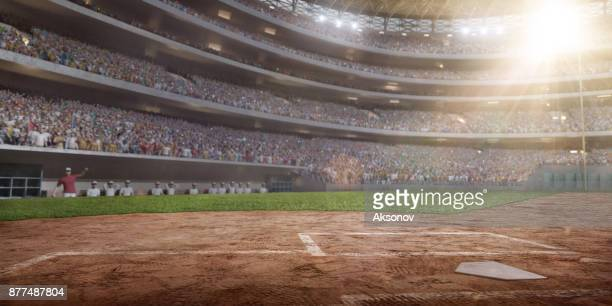 arène de baseball en 3d - terrain de baseball photos et images de collection