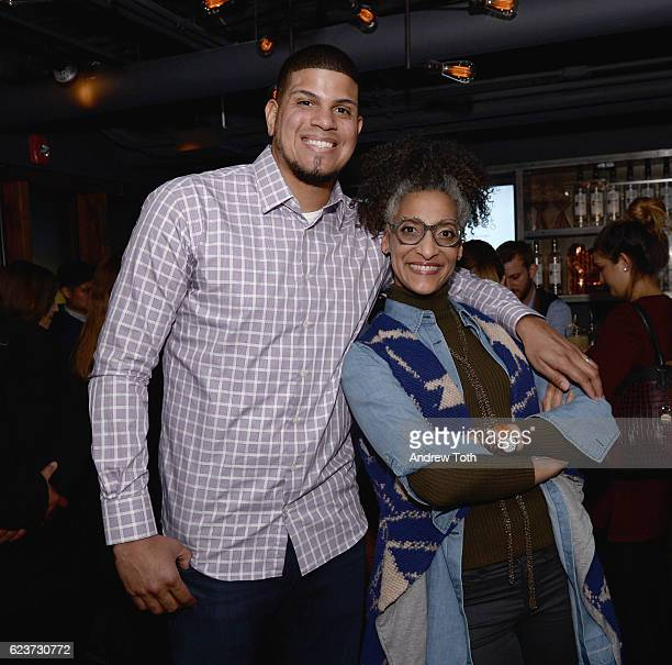 Professional baseball pitcher Dellin Betances and chef and television personality Carla Hall attend the 2016 Eater Awards with Ketel One Vodka at...