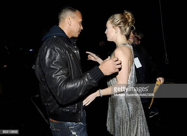 Professional baseball player Alex Rodriguez and actress Kate Hudson backstage at the 2009 American Music Awards at Nokia Theatre LA Live on November...