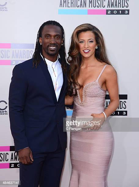 Professional baseball player Andrew McCutchen and Maria Hanslovan arrive at the 2013 American Music Awards at Nokia Theatre LA Live on November 24...