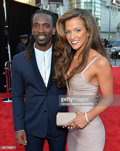 Professional baseball player Andrew McCutchen and Maria Hanslovan attend the 2013 American Music Awards at Nokia Theatre LA Live on November 24 2013...