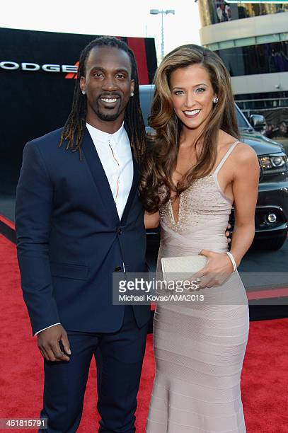 Professional baseball player Andrew McCutchen and Maria Hanslovan attend the 2013 American Music Awards Powered by Dodge at Nokia Theatre LA Live on...