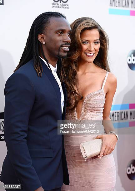 Professional baseball player Andrew McCutchen and Maria Hanslovan attend 2013 American Music Awards at Nokia Theatre LA Live on November 24 2013 in...