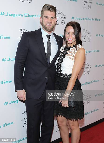 Professional baseball player Bryce Harper and Kayla Varner at the Jaguar Concept reveal ahead of its global debut at the Los Angeles Auto Show at...