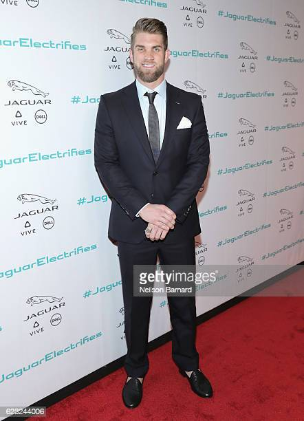 Professional baseball player Bryce Harper at the Jaguar Concept reveal ahead of its global debut at the Los Angeles Auto Show at Milk Studios on...
