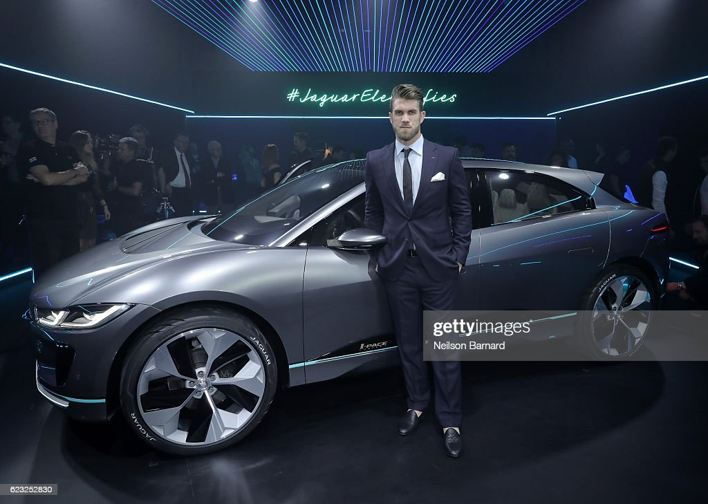 Professional baseball player Bryce Harper with the Jaguar I-PACE Concept, an all-electric performance SUV, ahead of its global debut at the Los Angeles Auto Show with an exclusive VIP reception at Milk Studios on November 14, 2016 in Los Angeles, California.