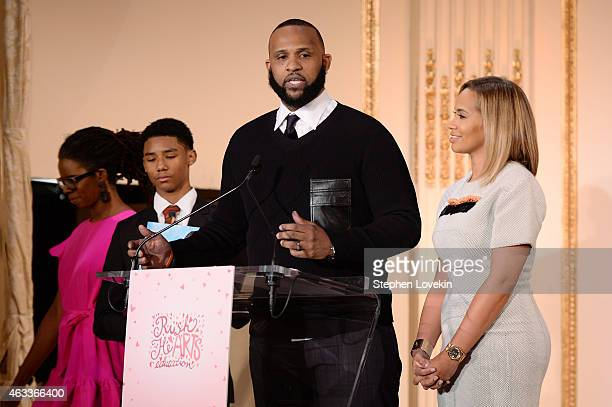 Professional baseball player CC Sabathia speaks on stage at Russell Simmons' Rush Philanthropic Arts Foundation's annual Rush HeARTS Education...