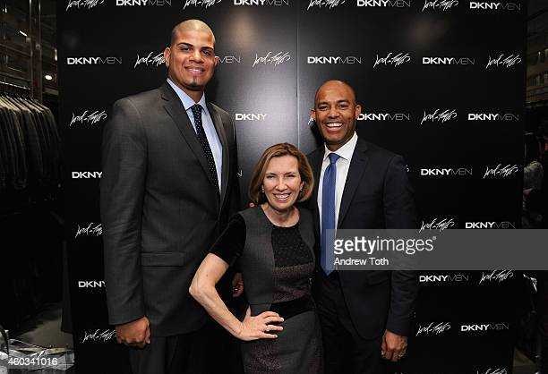 Professional baseball player Dellin Betances President of Hudson's Bay/Lord Taylor Liz Rodbell and former professional baseball player Mariano Rivera...