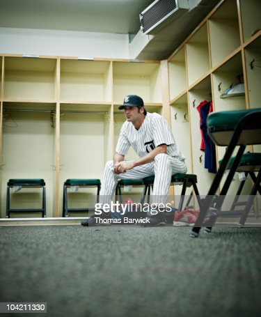 Professional Baseball Player In Locker Room Stock Photo