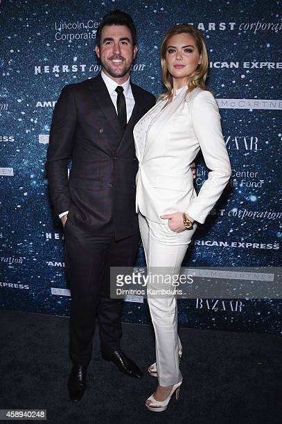 Professional baseball player Justin Verlander and model Kate Upton attend 2014 Women's Leadership Award Honoring Stella McCartney at Alice Tully Hall...