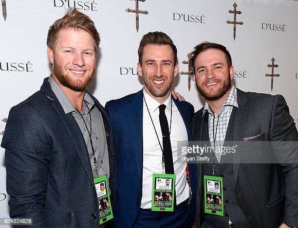 Professional baseball players Dustin Peterson Kyle Thousand and D J Peterson attend the D'USSE Lounge at Kovalev vs Ward at TMobile Arena on November...