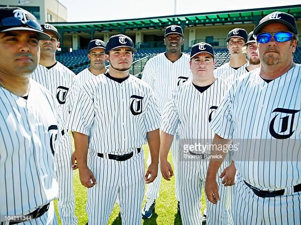 Professional baseball players on baseball field