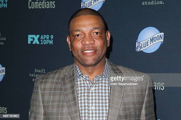 Professional basketball coach Doc Rivers attends the premiere of FX's 'The Comedian' at The Broad Stage on April 6 2015 in Santa Monica California
