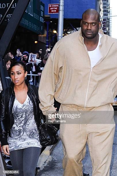 Professional basketball player and television personality Shaquille O'Neal and fiancee Nicole Hoopz Alexander visit the Late Show With David...