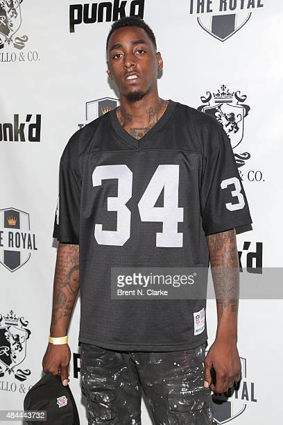 Professional basketball player Anthony Mason, Jr. Arrives for the Punk'd! private celebrity viewing party held at The Royal on August 18, 2015 in New...