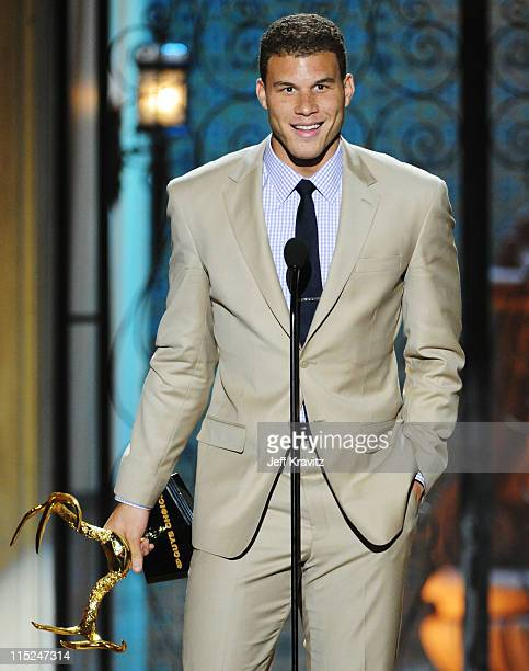 Professional basketball player Blake Griffin accepts an award onstage during Spike TV's 5th annual 2011 'Guys Choice' Awards at Sony Pictures Studios...