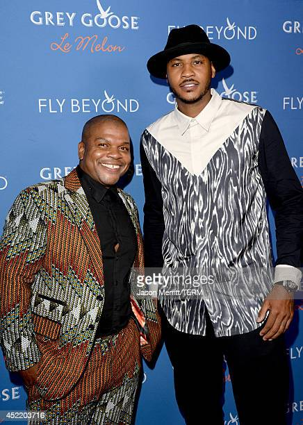 Professional basketball player Carmelo Anthony and artist Kehinde Wiley at Carmelo Anthony Kehinde Wiley Dinner Hosted by GREY GOOSE at Sunset Tower...