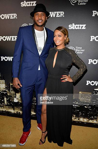 Professional basketball player Carmelo Anthony and La La Anthony attend the 'Power' premiere on June 2 2014 in New York City