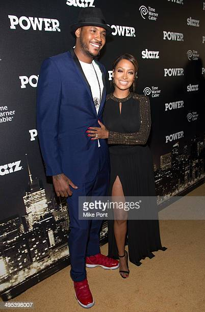 Professional Basketball Player Carmelo Anthony and La La Anthony attend the 'Power' premiere at Highline Ballroom on June 2 2014 in New York City