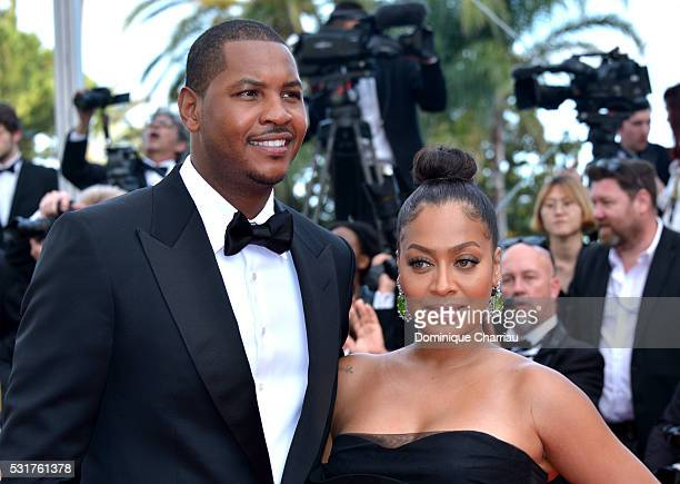 Professional basketball player Carmelo Anthony and television personality La La Anthony attend the 'Loving' premiere during the 69th annual Cannes...