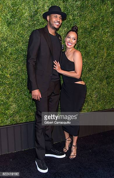 Professional basketball player Carmelo Anthony and wife television Personality La La Anthony attend the 11th Annual Chanel Tribeca Film Festival...