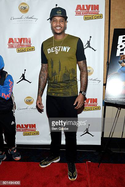 Professional basketball player Carmelo Anthony attends the 'Alvin And The Chipmunks The Road Chip' New York Screening at Regal EWalk on December 15...