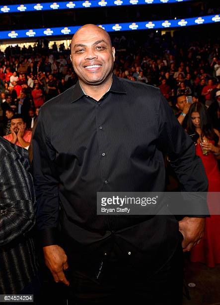 Professional basketball player Charles Barkley sits in the audience during Kovalev vs Ward and D'USSE Lounge at TMobile Arena on November 19 2016 in...