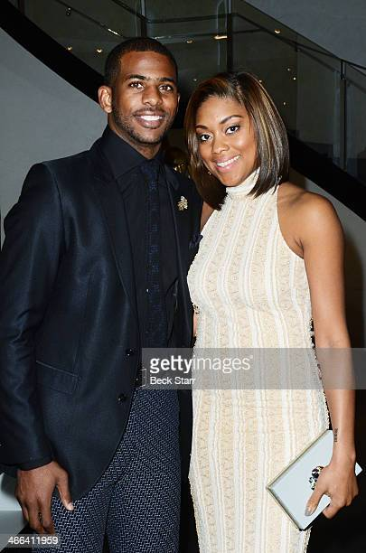 Professional basketball player Chris Paul and his wife Jada attends Matt Barnes Foundation Athletes Vs Cancer event at Versace Boutique on January 31...