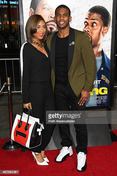 Professional basketball player Chris Paul and his wife Jada Crawley attend the premiere of Universal Pictures' 'Ride Along' at TCL Chinese Theatre on...