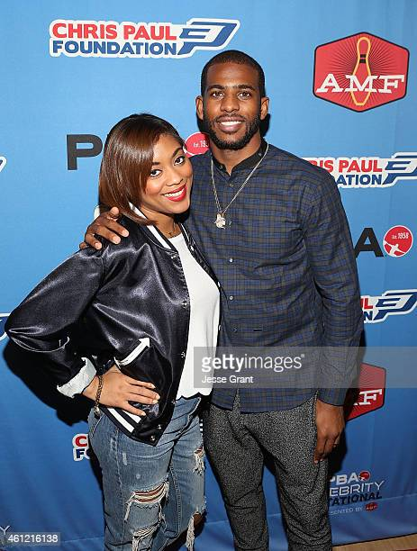 Professional basketball player Chris Paul and wife Jada Crawley attend the Chris Paul PBA Celebrity Invitational Bowling Tournament at AMF BowlODrome...
