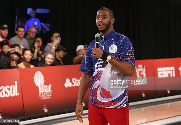 Professional basketball player Chris Paul attends the State Farm Chris Paul PBA Celebrity Invitational held at Lucky Strike Lanes at LA Live on...