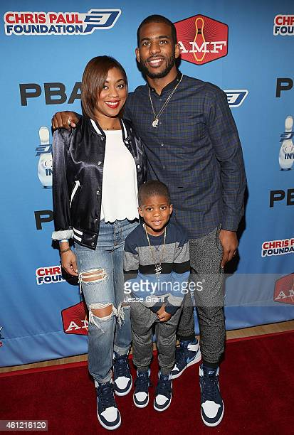 Professional basketball player Chris Paul wife Jada Crawley and Chris Paul Jr attend the Chris Paul PBA Celebrity Invitational Bowling Tournament at...