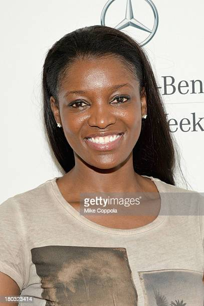 Professional basketball player DeLisha MiltonJones attends the MercedesBenz Star Lounge during MercedesBenz Fashion Week Spring 2014 on September 11...