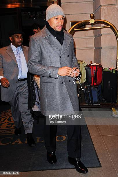 Professional basketball player Derek Fisher leaves a Midtown Manhattan hotel on February 11 2011 in New York City