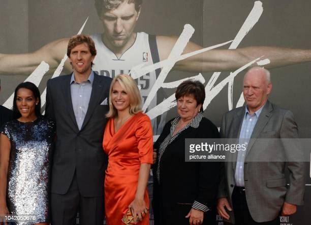 Professional basketball player Dirk Nowitzki his wife Jessica his sister Silke his mother Helga and his father JoergWerner arrive for the premiere...