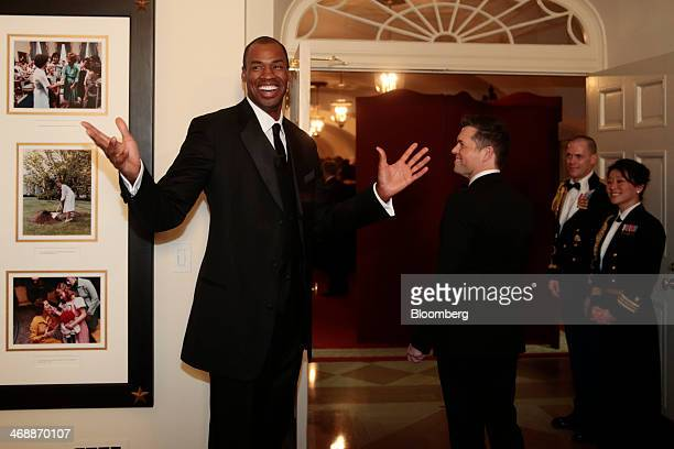 Professional basketball player Jason Collins, left, arrives at a state dinner hosted by U.S. President Barack Obama and U.S. First Lady Michelle...