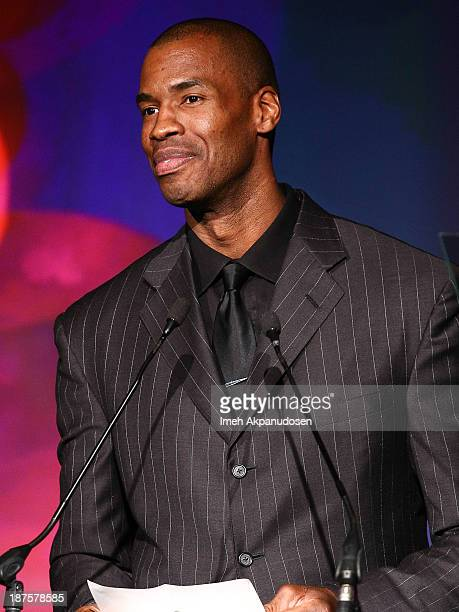 Professional basketball player Jason Collins speaks onstage at the L.A. Gay & Lesbian Center's 42nd Anniversary Vanguard Awards Gala at Westin...