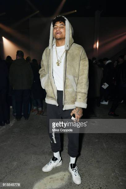 Professional basketball player Kelly Oubre Jr attends the Raf Simons runway show during New York Fashion Week Mens' on February 7 2018 in New York...