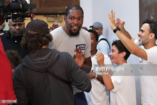 Professional basketball player Kevin Durant arrives to the KD Build It and They Will Ball court ceremony on July 24 2017 in New York City
