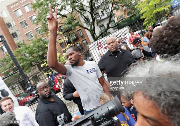 Professional basketball player Kevin Durant exits the basketball court during the KD Build It and They Will Ball court ceremony on July 24 2017 in...