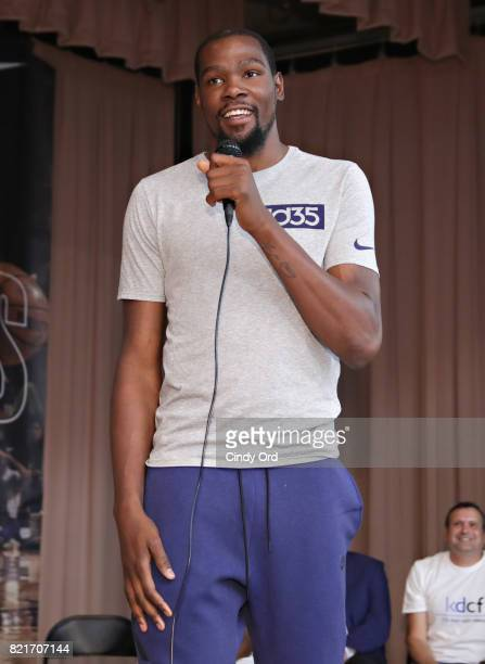 Professional basketball player Kevin Durant speaks to students during the KD Build It and They Will Ball court ceremony on July 24 2017 in New York...