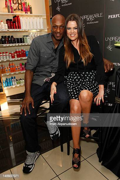 Professional basketball player Lamar Odom and TV personality Khloe Kardashian make an appearance to promote their fragrance 'Unbreakable Bond' at...