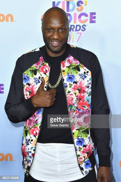 Professional basketball player Lamar Odom at Nickelodeon's 2017 Kids' Choice Awards at USC Galen Center on March 11 2017 in Los Angeles California