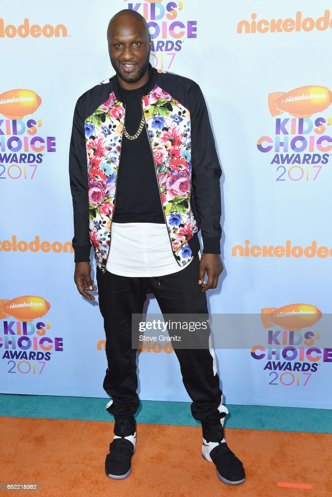Professional basketball player Lamar Odom at Nickelodeon's 2017 Kids' Choice Awards at USC Galen Center on March 11, 2017 in Los Angeles, California.