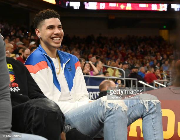 Professional basketball player LaMelo Ball, right, attends the game between the USC Trojans and the UCLA Bruins at Galen Center on March 7, 2020 in...