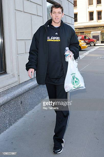 Professional basketball player Luke Walton enters a Midtown Manhattan hotel on February 11 2011 in New York City