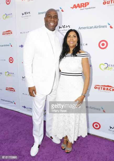 Professional basketball player Magic Johnson and Cookie Johnson at HollyRod Foundation's DesignCare Gala on July 15 2017 in Pacific Palisades...