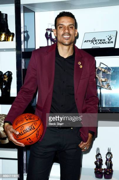 Professional basketball player Matt Barnes attends Matt Barnes Foundation Athletes Vs Cancer event at Versace Boutique on January 31 2014 in Beverly...
