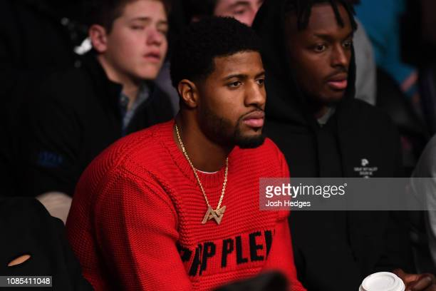 Professional basketball player Paul George is seen in attendance during the UFC Fight Night event at the Barclays Center on January 19 2019 in the...