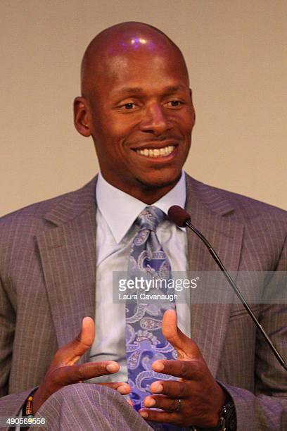 Professional basketball player Ray Allen speaks onstage at the NBA on ESPN panel presented by ESPN during Advertising Week 2015 AWXII at the Times...
